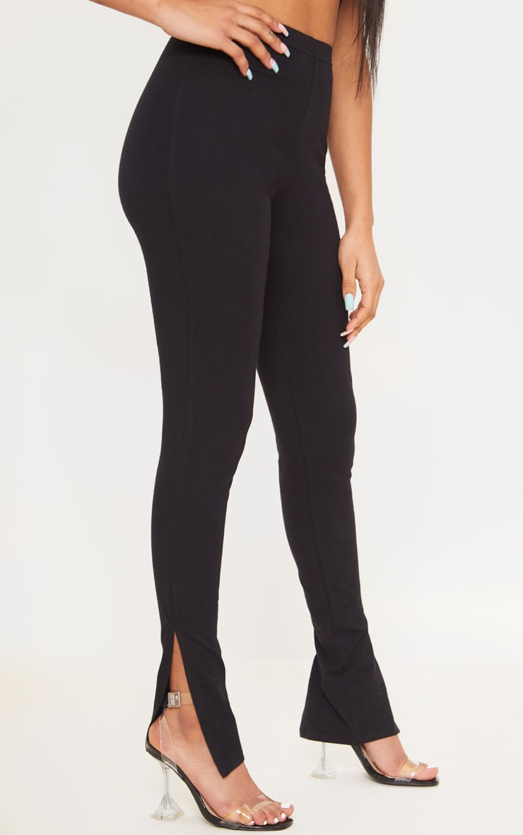Petite Black Cotton Jersey Split Hem Leggings 2