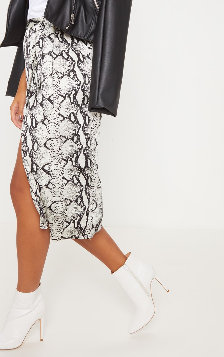 Snakeskin Satin Printed Wrap Midi Skirt 5