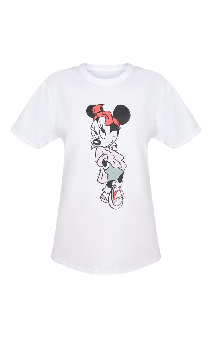 White Disney Minnie Mouse Print Oversized T Shirt 3