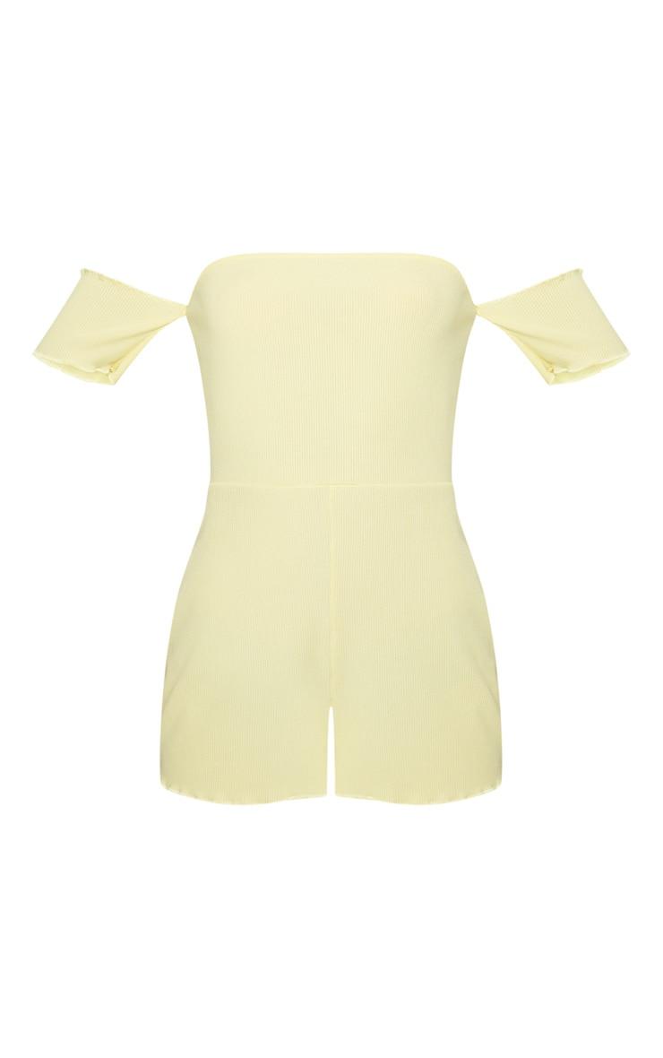 Lemon Ribbed Bardot PJ Romper 3