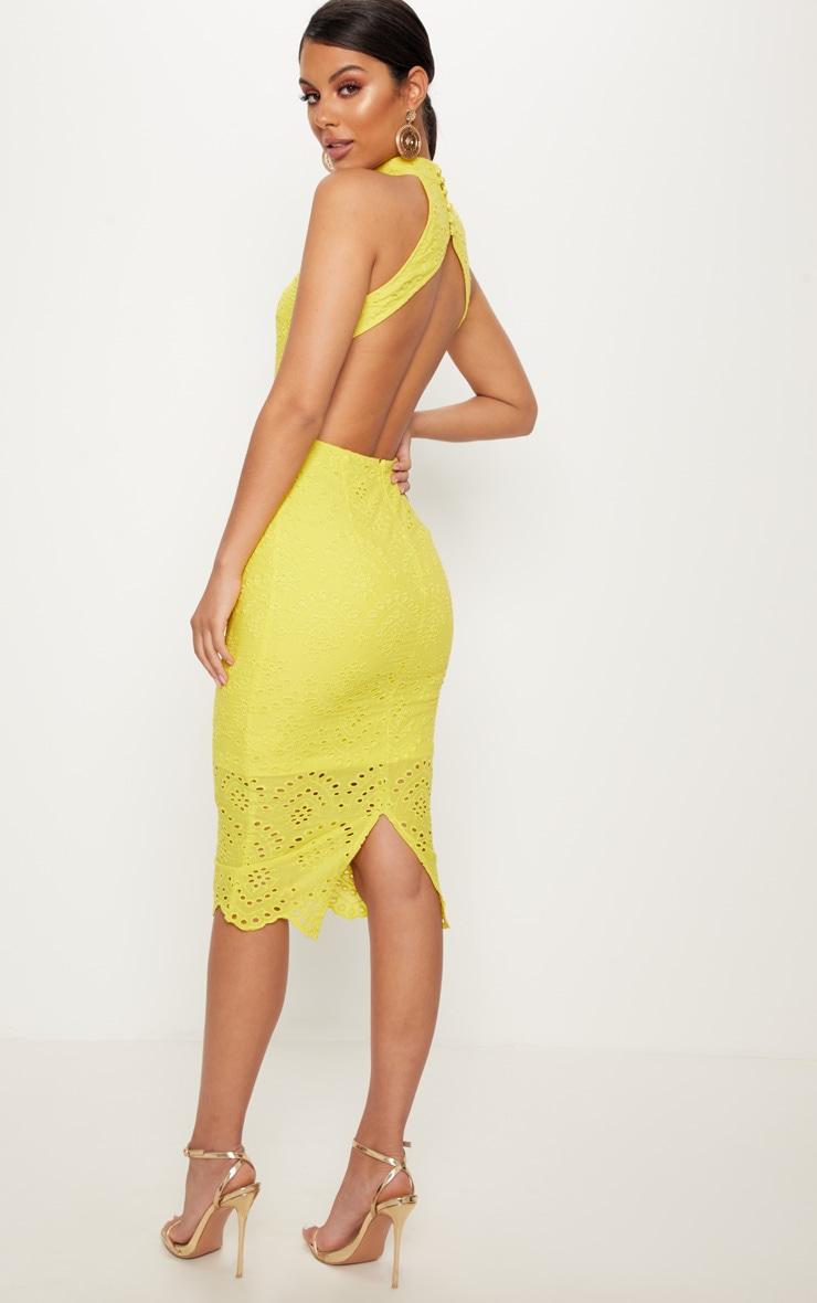 2536b18e3482 Yellow Crochet Lace Backless Midi Dress image 1