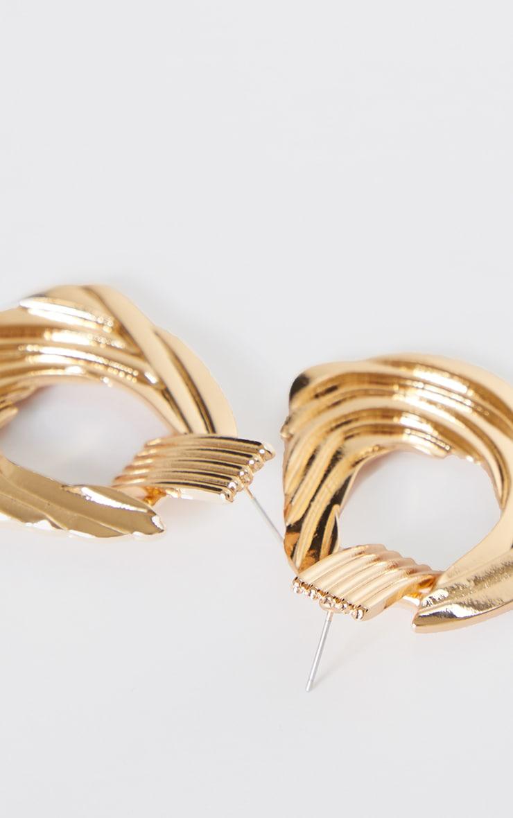 Gold Twist Effect Door Knocker Earrings 3