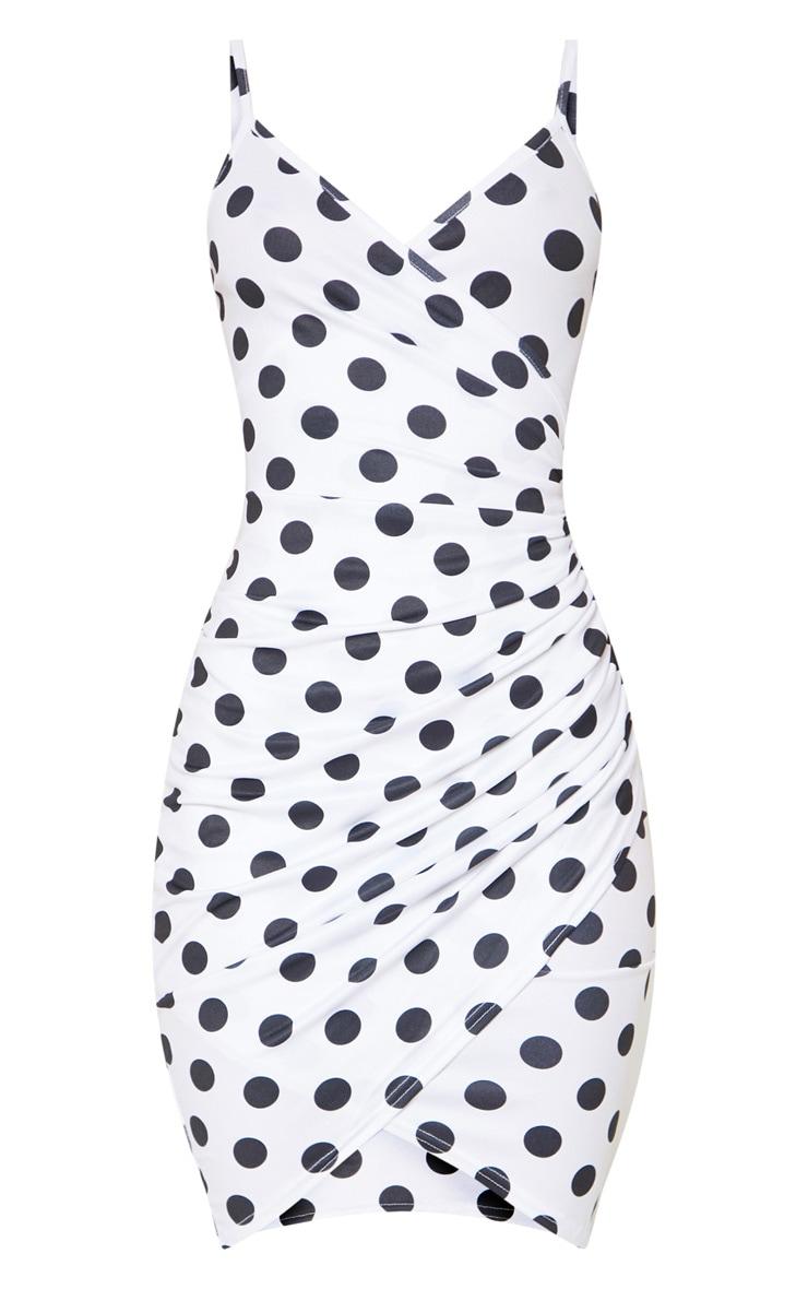 White Polka Dot Wrap Detail Midi Dress 3