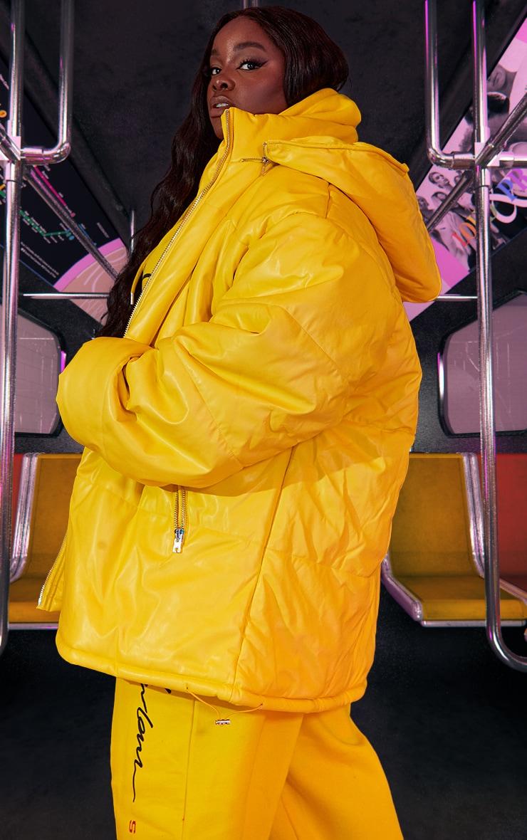 Plus Yellow Unisex PU Extreme Oversized Puffer Coat 4