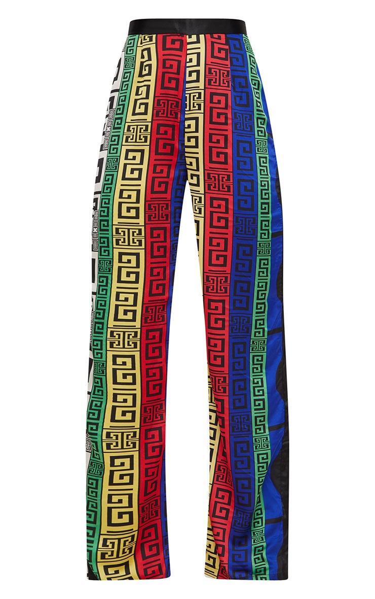 Multi Satin Printed Wide Leg Pants 3