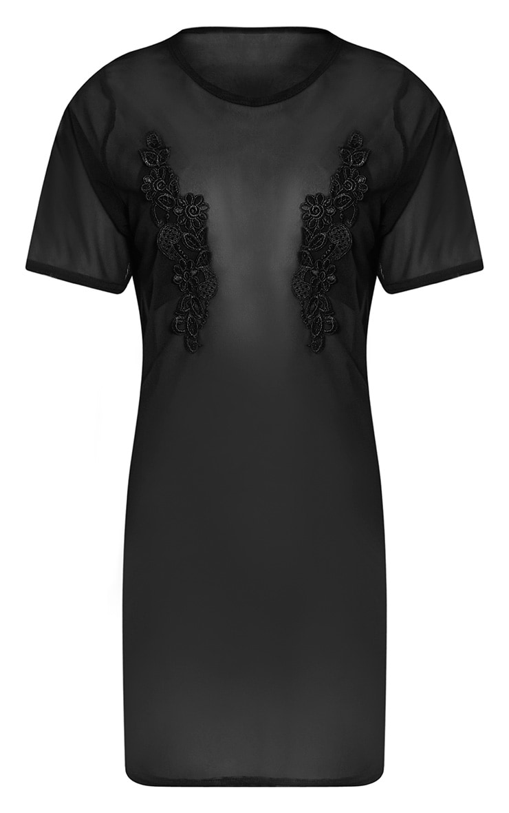 Cheska Black Applique Detail Mesh T Shirt Dress 3