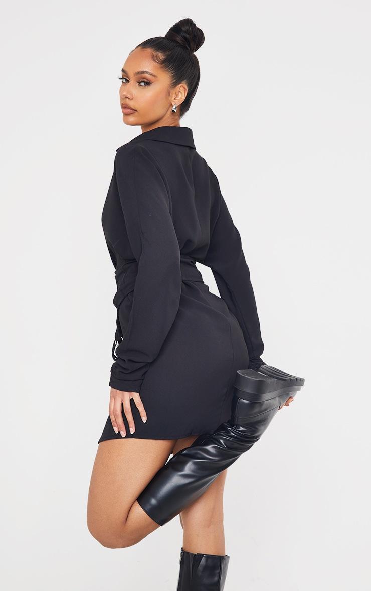 Black Corset Waist Detail Shirt Dress 2