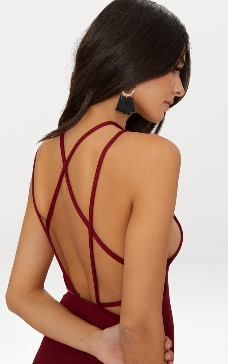 Deep Berry High Neck Extreme Strappy Back Choker Detail Midi Dress 5