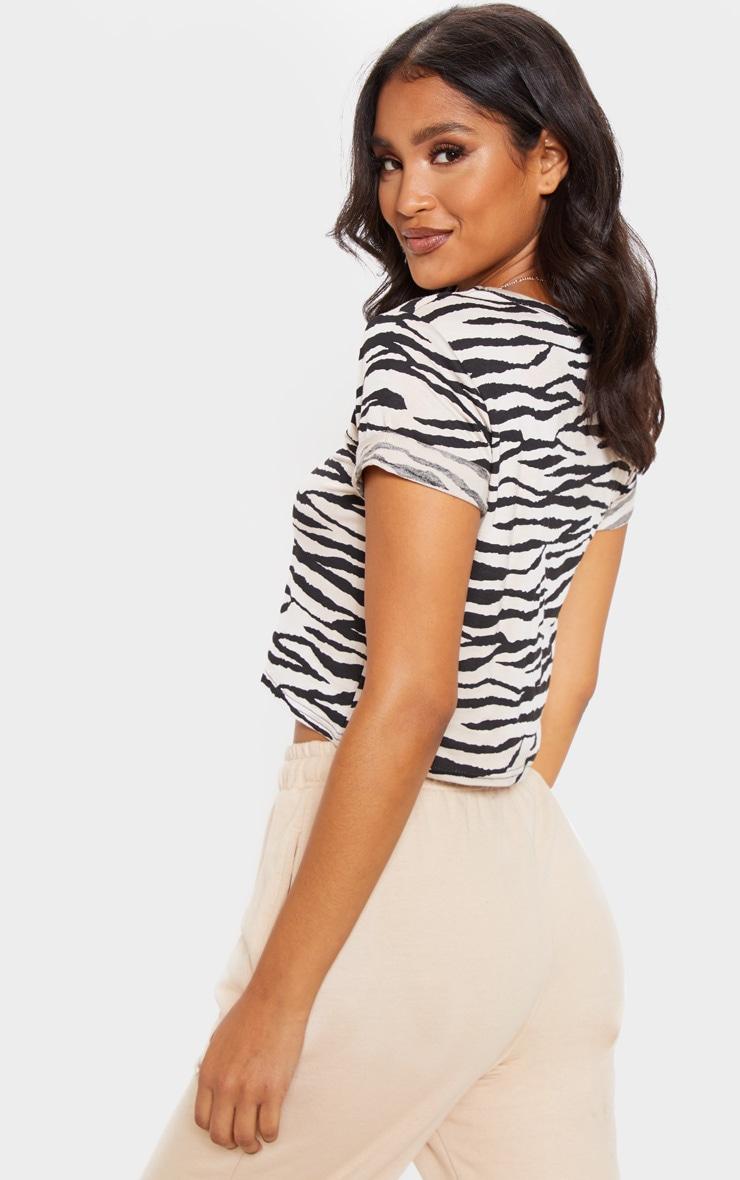 Basic Nude Zebra Roll Sleeve Crop T Shirt  2