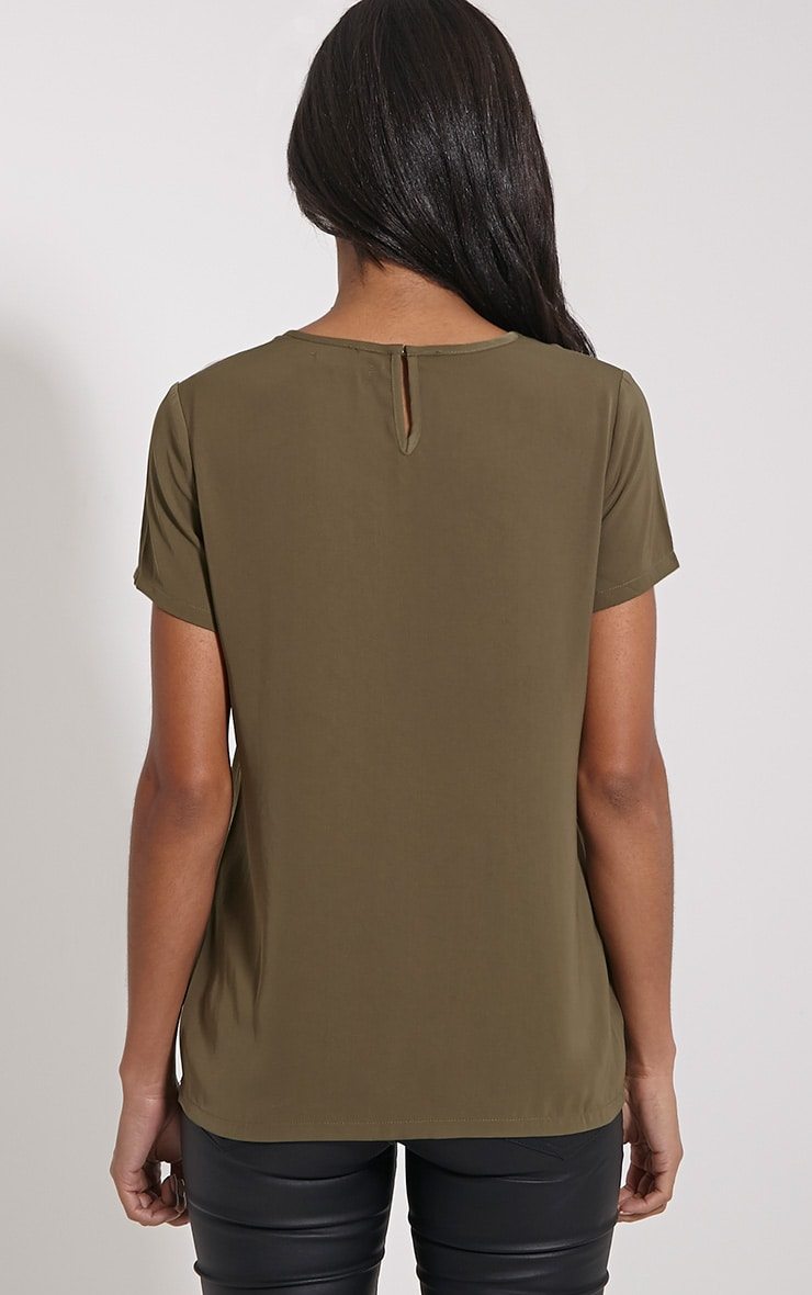 Bexley Khaki Fishnet Panel T-Shirt 2