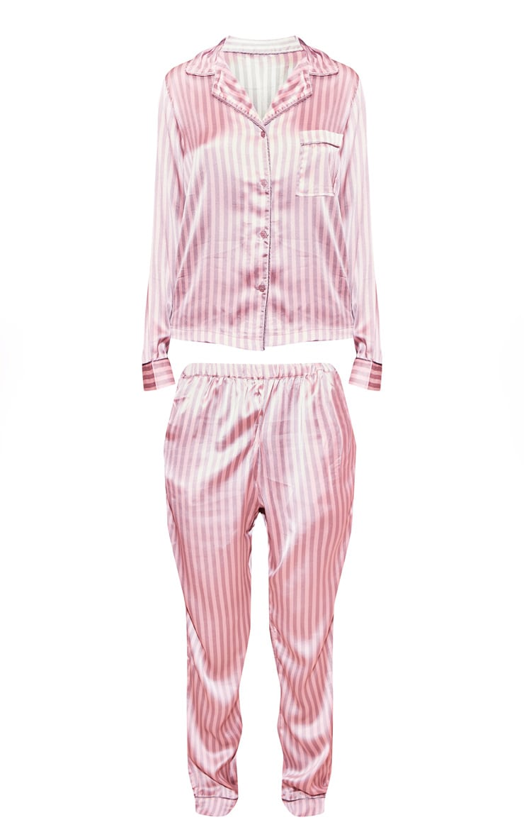 Pink And Grey Stripe Long Satin PJ Set 3