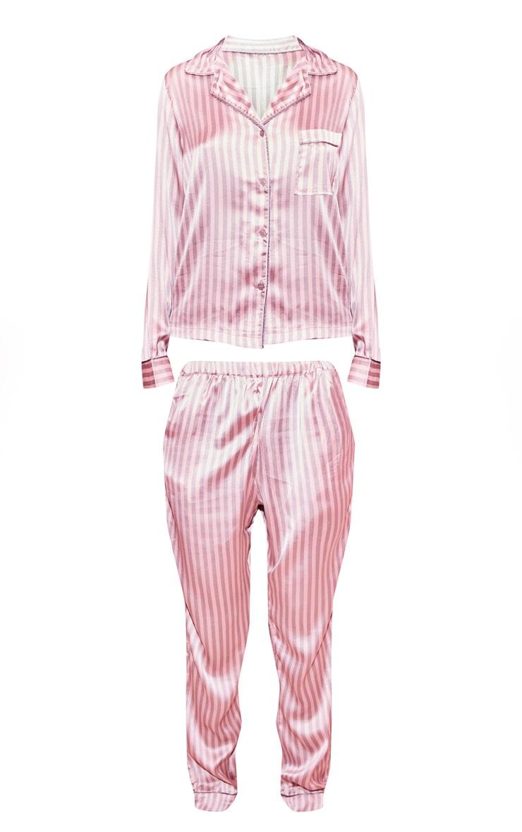 Ensemble de pyjama à rayures roses et grises satiné 3
