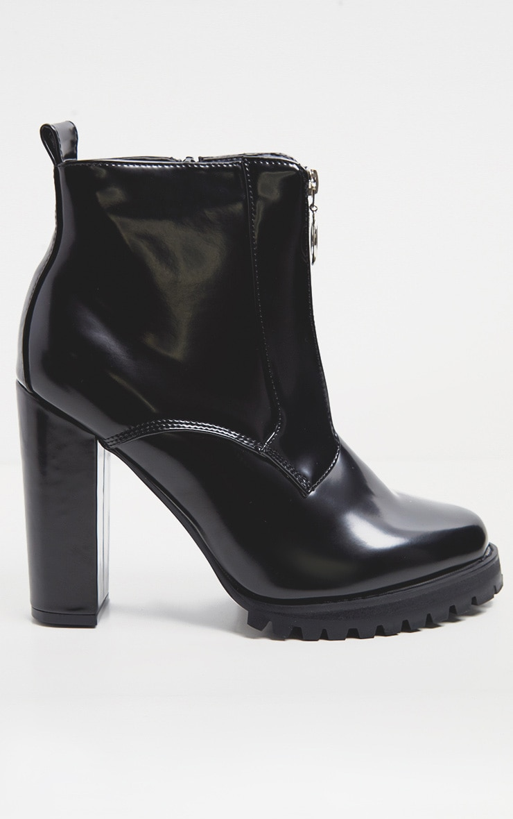 Black Zip Front Platform Boot 5