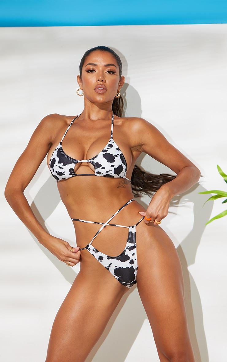 Recycled Monochrome Cow Print Cut Out Tie Bikini Top 3