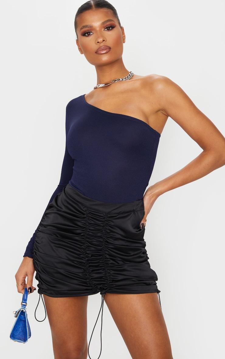 Black Satin Ruched Detail Toggle Mini Skirt 2