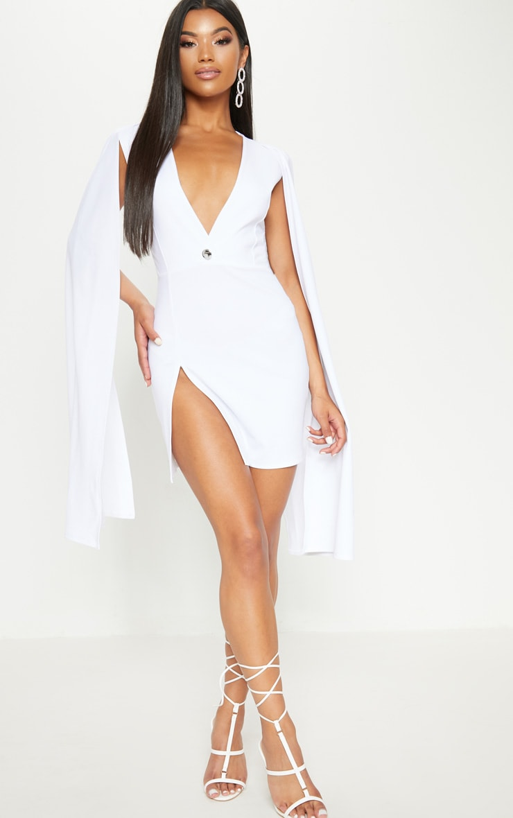 White Cape Blazer Dress 1