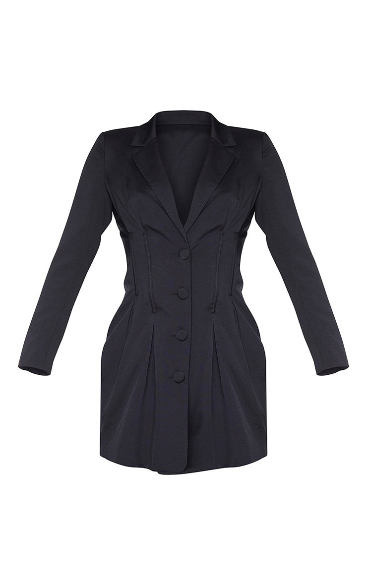 Black Woven Waist Binding Detail Blazer Dress 5
