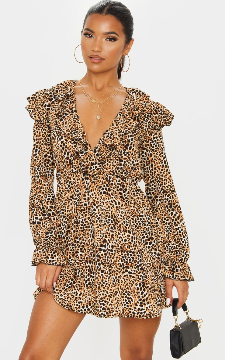 Brown Leopard Print Frill Detail V Neck Shift Dress  1