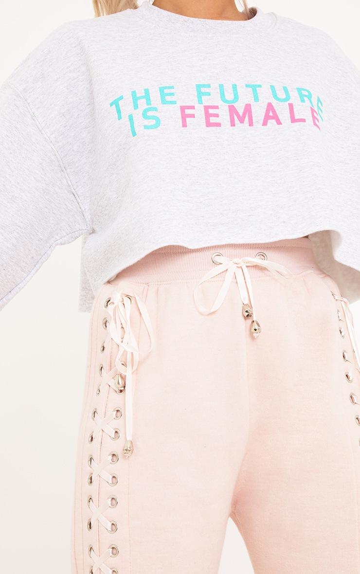 Future Female Slogan Grey Cropped Sweater 5