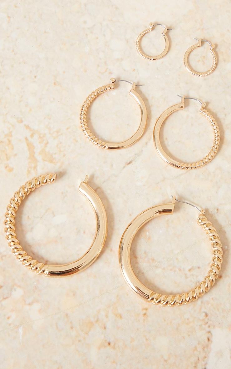 Gold Half Ribbed 3 Pack Hoop Earrings 1