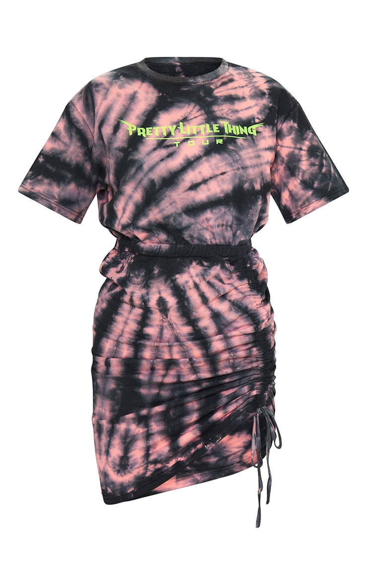 PRETTYLITTLETHING Orange Tie Dye Ruched Side Sweater Dress 5