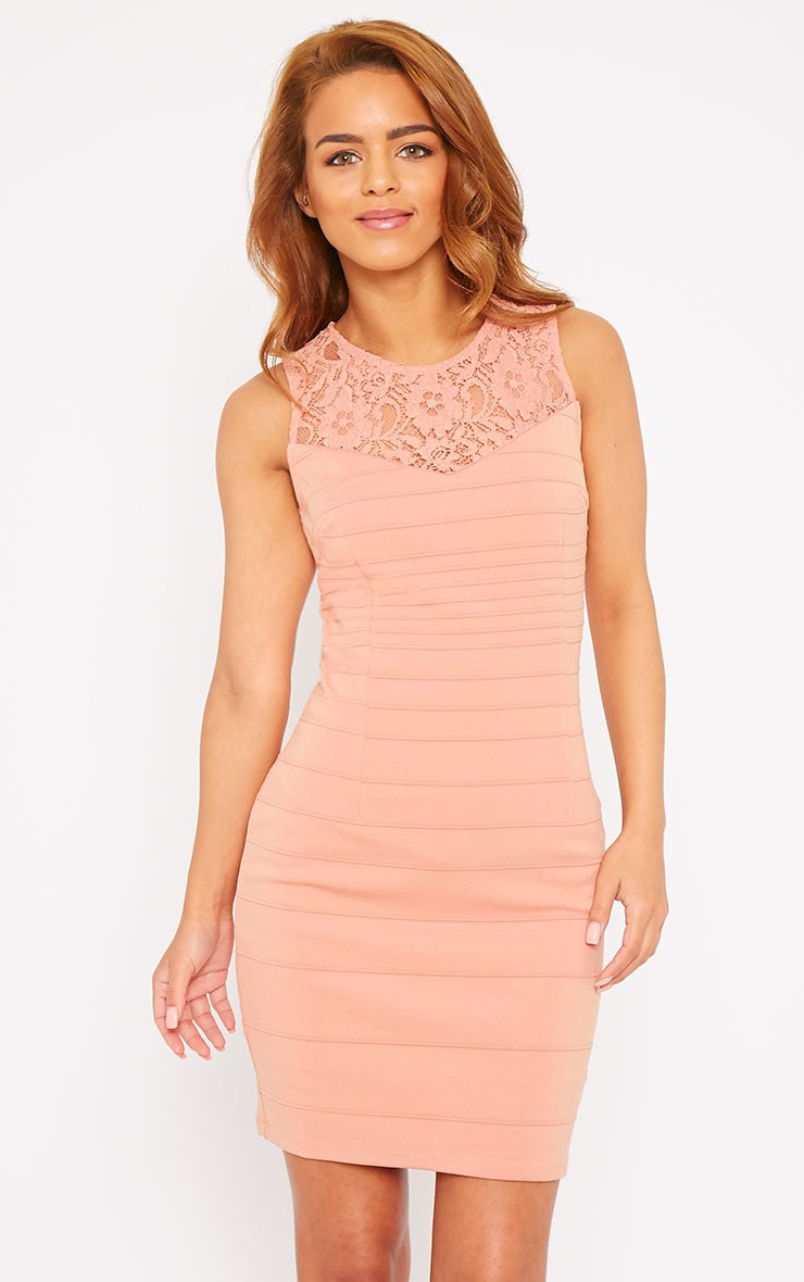 Primrose Peach Lace Top Bandage Dress 1