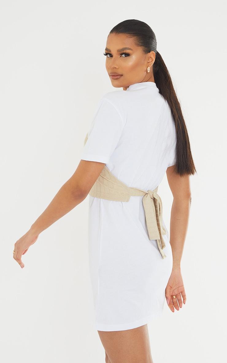 White Rib Vest Wrap Detail T Shirt Dress 2