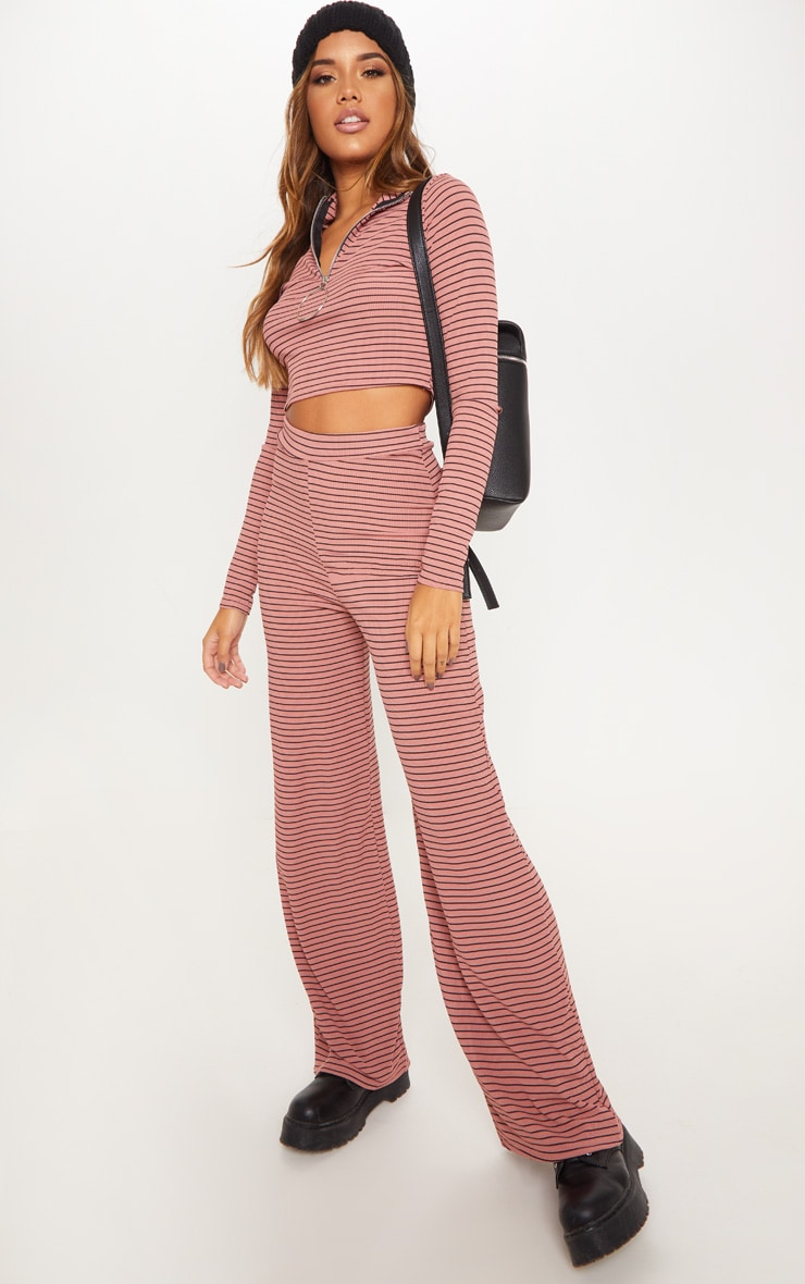 Pink Striped Knitted Wide Leg Trouser  1