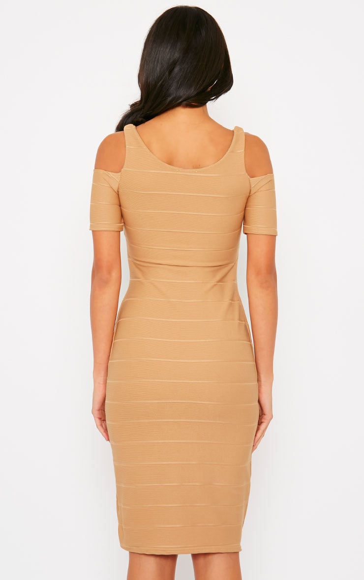 Bea Camel Cold Shoulder Bandage Dress 2