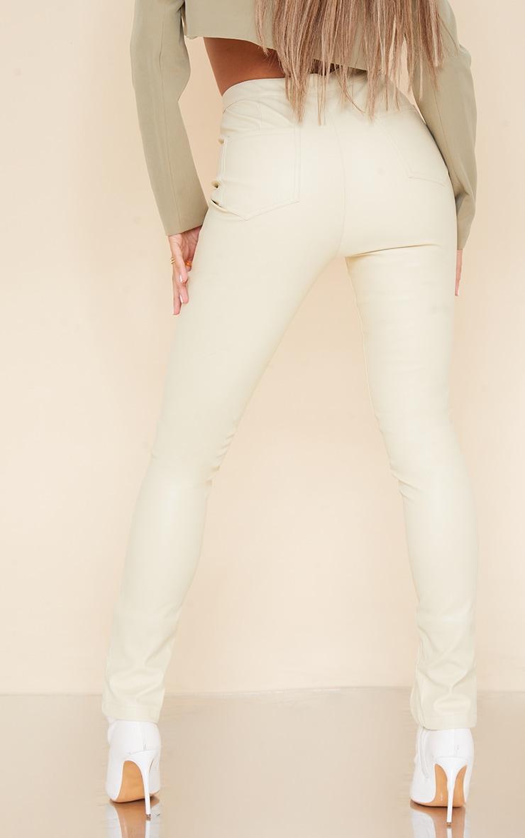 Cream Split Hem Faux Leather Skinny Pants 3