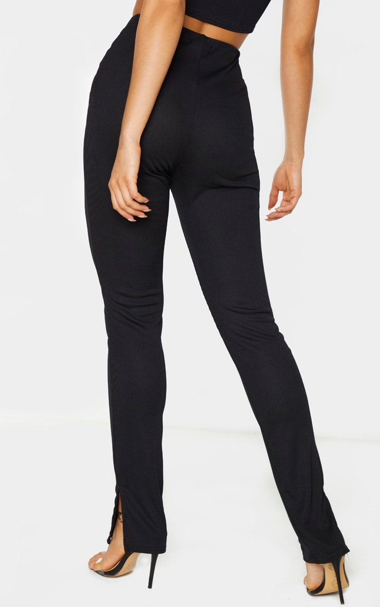 Tall Black Ribbed Skinny Split Hem Pants 3