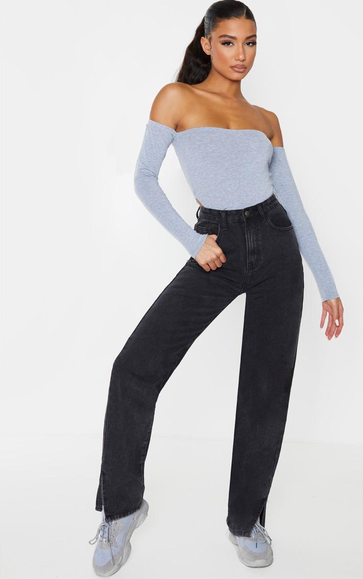 Grey Marl Jersey Bardot High Leg Bodysuit 3