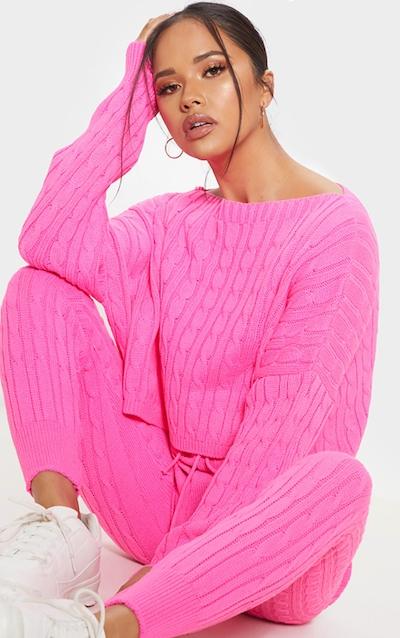 b8c6a480a0552 Hot Pink Cable Knit Jumper   Legging Set