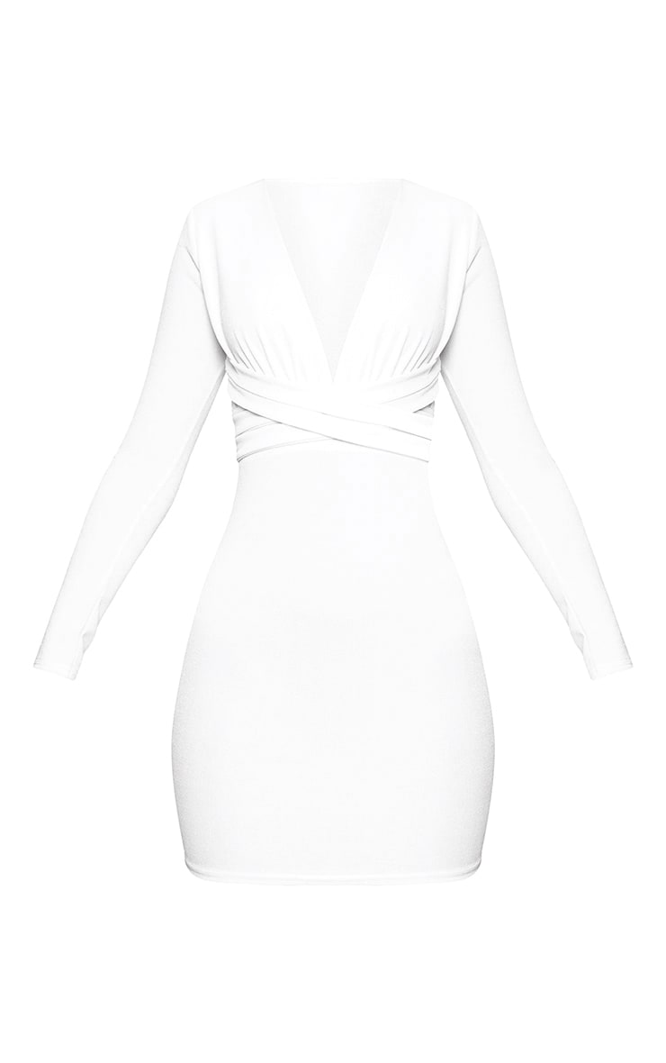 White Plunge Strappy Front Bodycon Dress 3