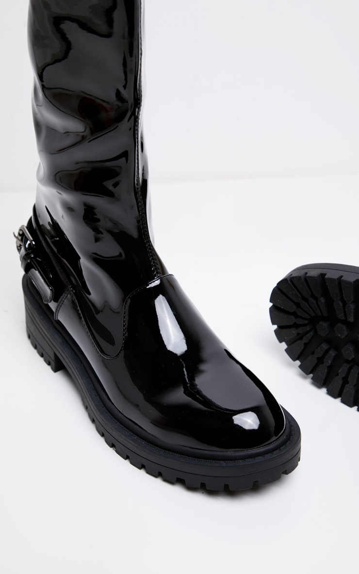 Black Vinyl Cleated Flat Over The Knee Boot 3