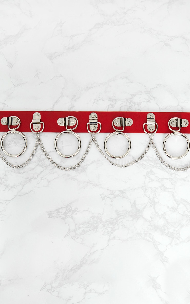 Red Chained Hoops Belt 4