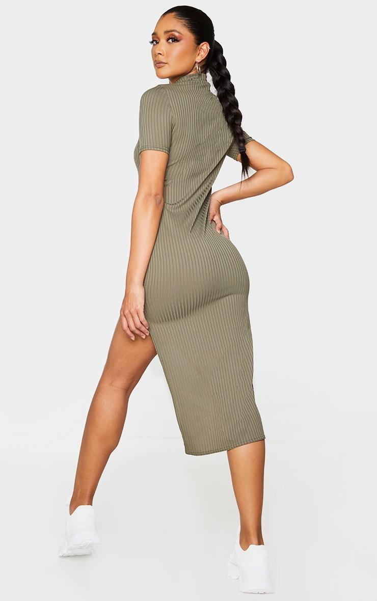 Khaki Rib High Neck Asymmetric Hem Midi Dress 2