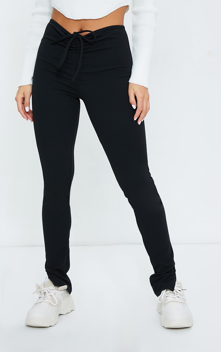 Petite Black Crepe Ruched Waist Line Split Hem Pants 2
