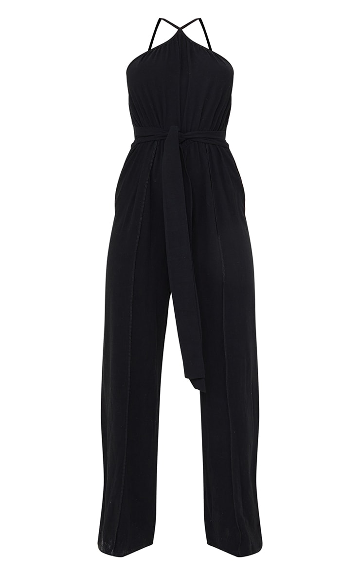 Black Linen Look Strappy Tie Waist Jumpsuit 5