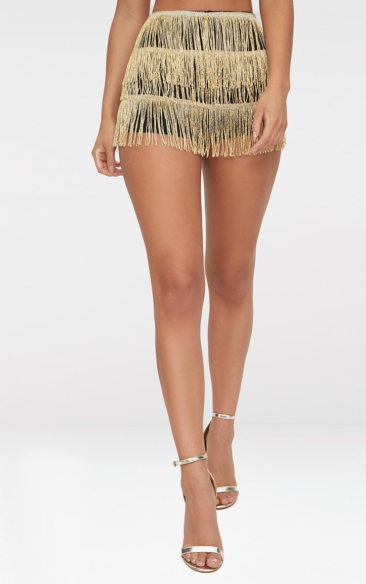 Gold Tiered Fringe Shorts 2