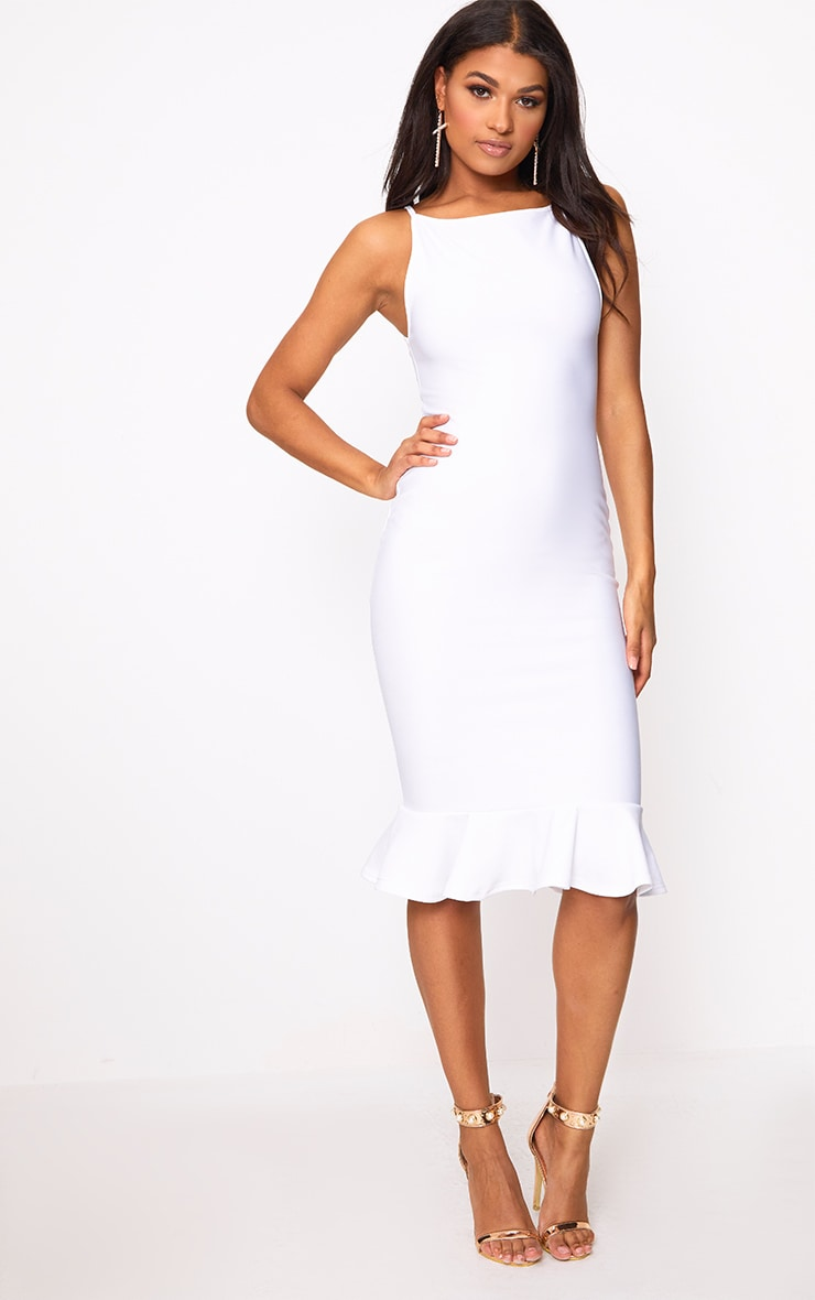 Freada White Square Neck Frill Hem Midi Dress 1