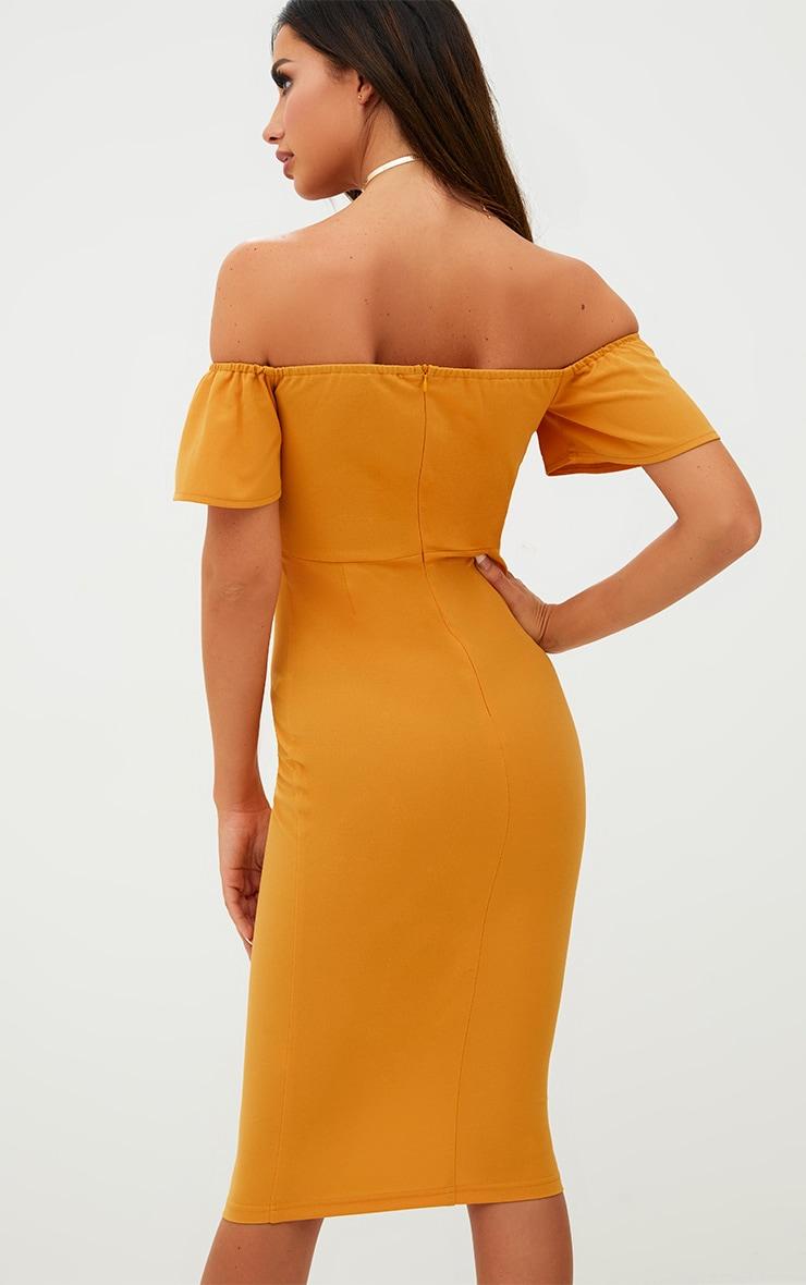Mustard Bardot Tie Front Midi Dress 2