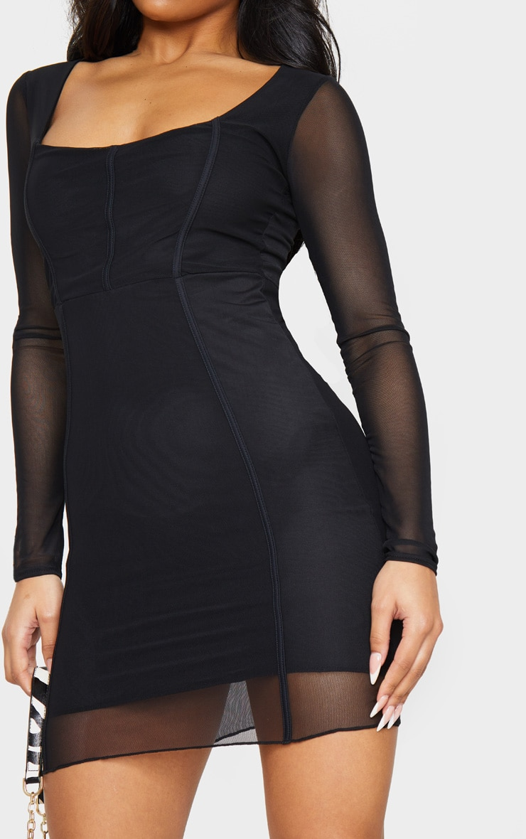 Sheer Mesh Square Neck Binding Detail Bodycon Dress 4