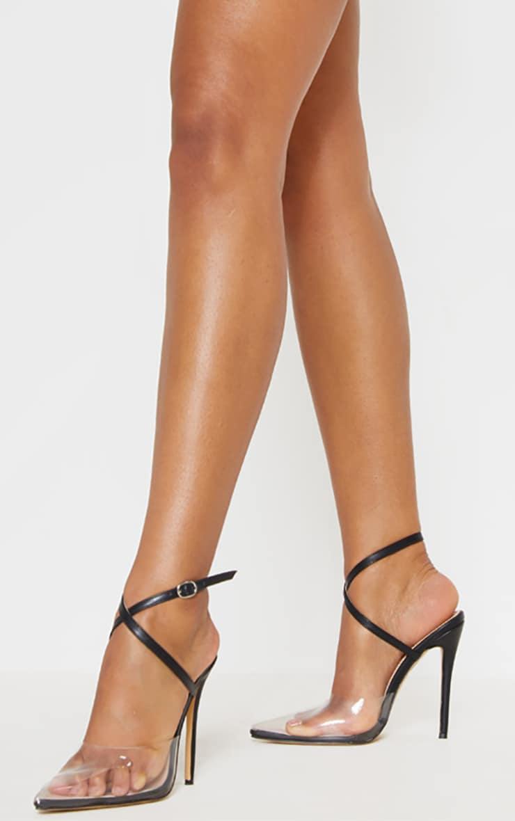 Black Buckle Ankle Wrap Clear Court  1