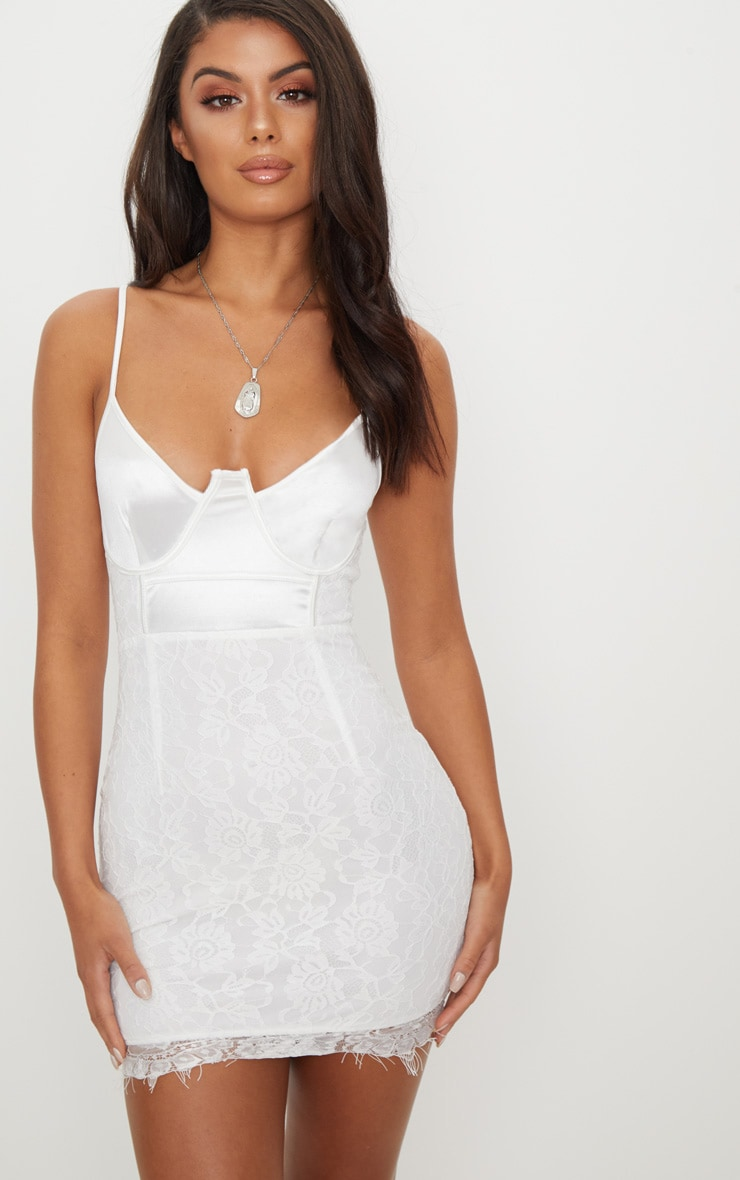 White Satin Top Bustier Lace Bodycon Dress 4
