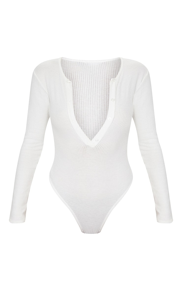 White Brushed Rib Button Long Sleeve Bodysuit 5