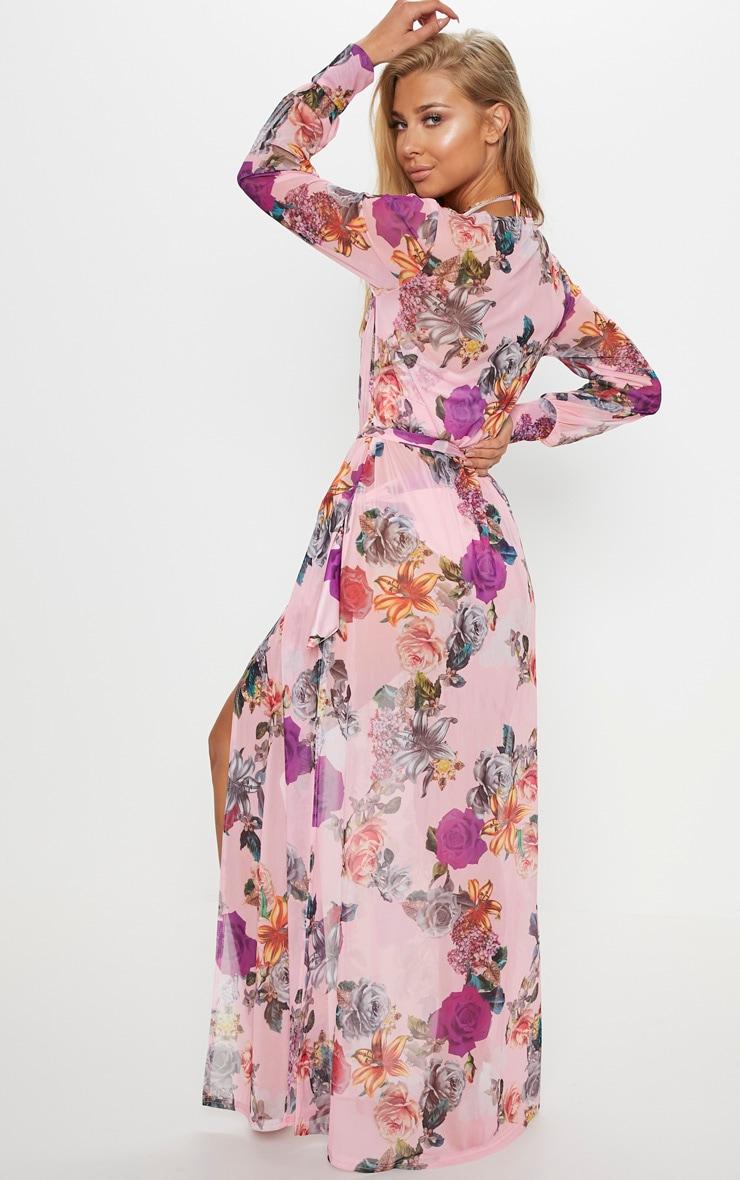 Pink Jewel Floral Thigh Split Maxi Kimono 2