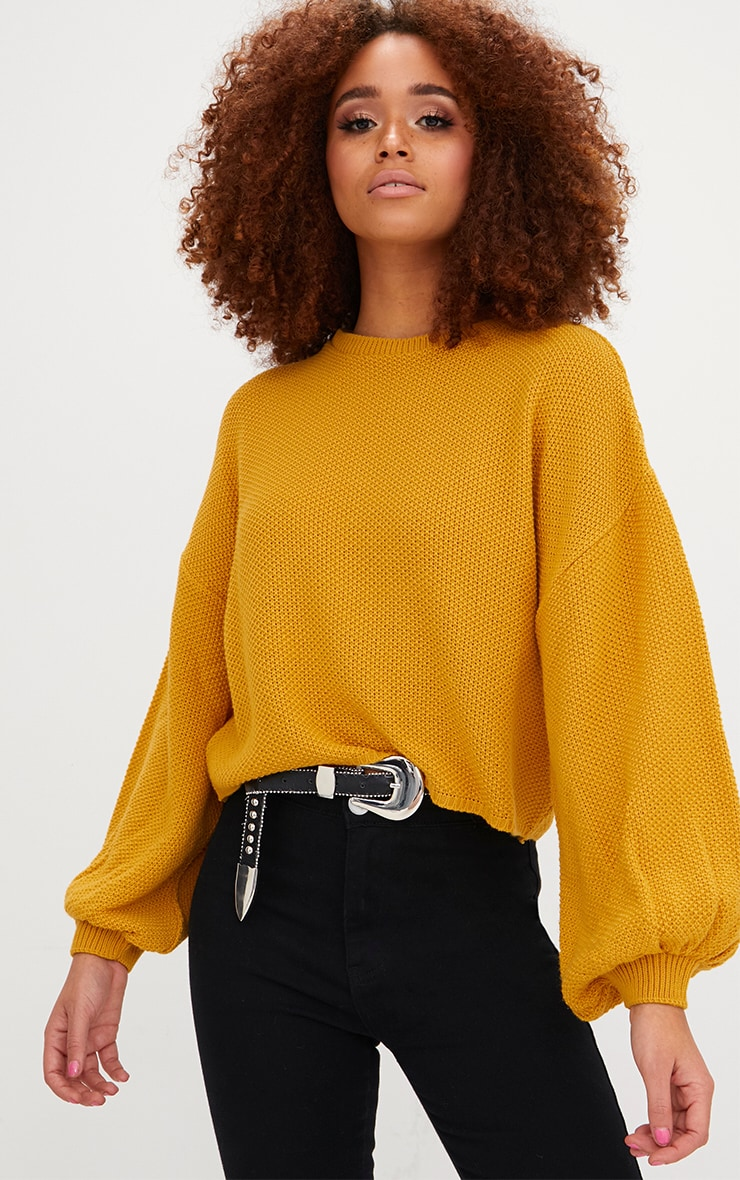 Mustard Balloon Sleeve Knitted Jumper 1