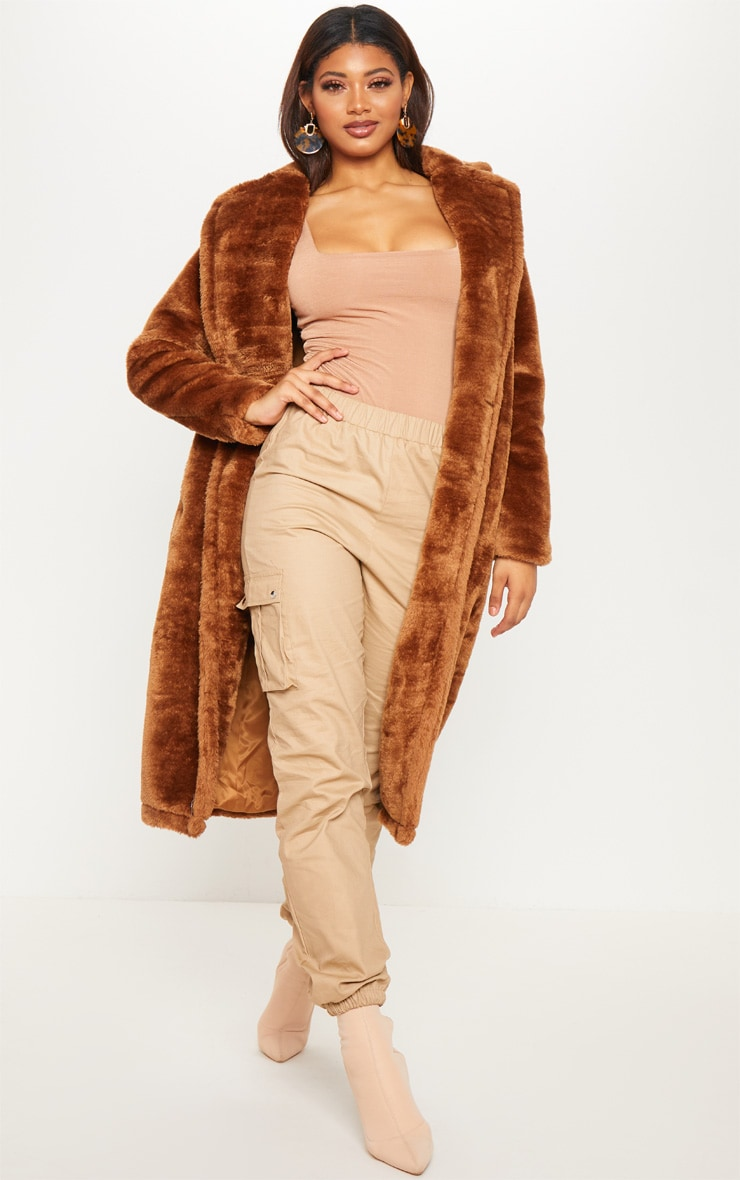 Tall Brown Faux Fur Long Line Coat  4