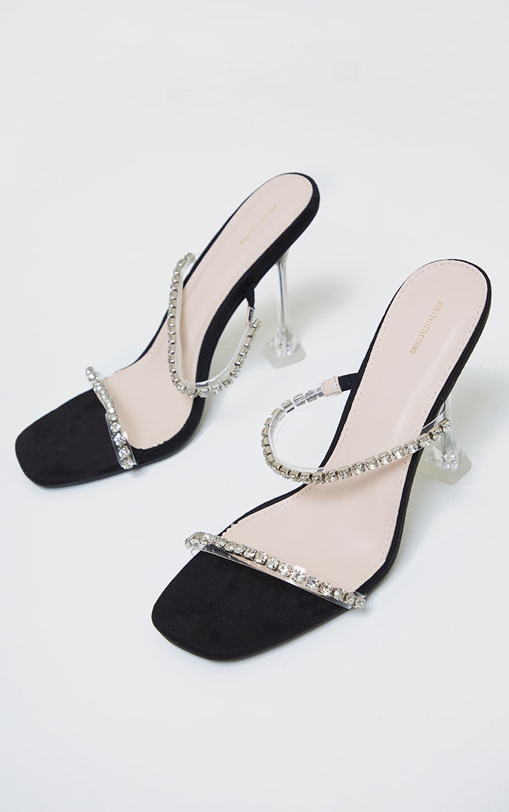 Black High Cake Stand Jewel Embellished Twin Strap Mules 3